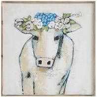 Square Wood Wall Decor - Cow with Flowers