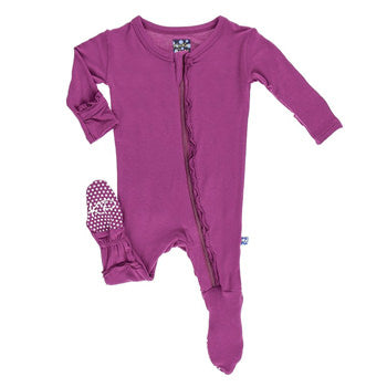 Orchid Basic Muffin Ruffle Footie with Zipper