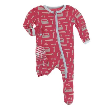 Flag Red Construction Print Footie with Zipper