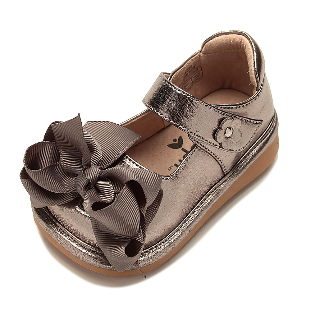 Mooshu Trainers Mary Jane with Bow - Pewter