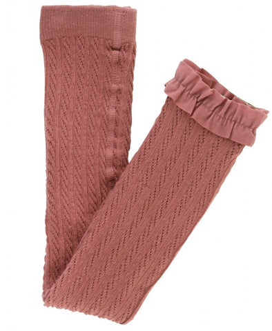 Cable Knit Footless Ruffle Tights - Mauve