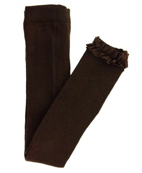 Footless Ruffle Tights - Chocolate Brown