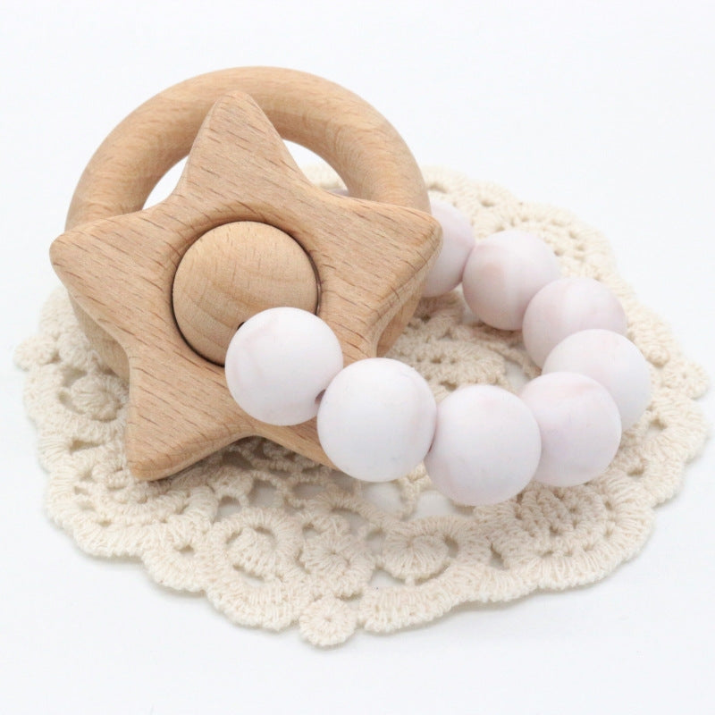 wood and silicone teether