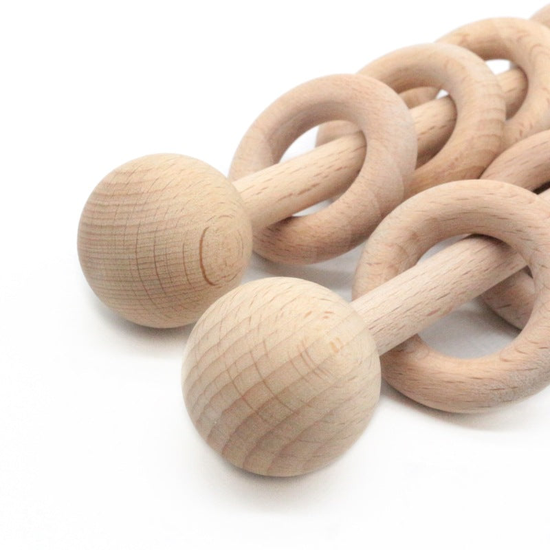 rattle with wooden rings