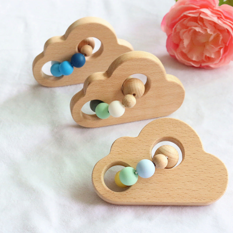 cloud wooden teether with silicone beads