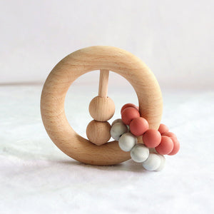 wood and silicone beads teether rattle