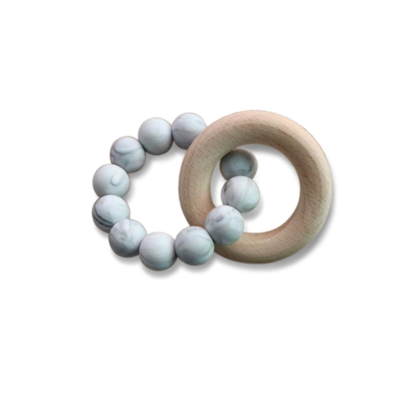 grey silicone wood teether