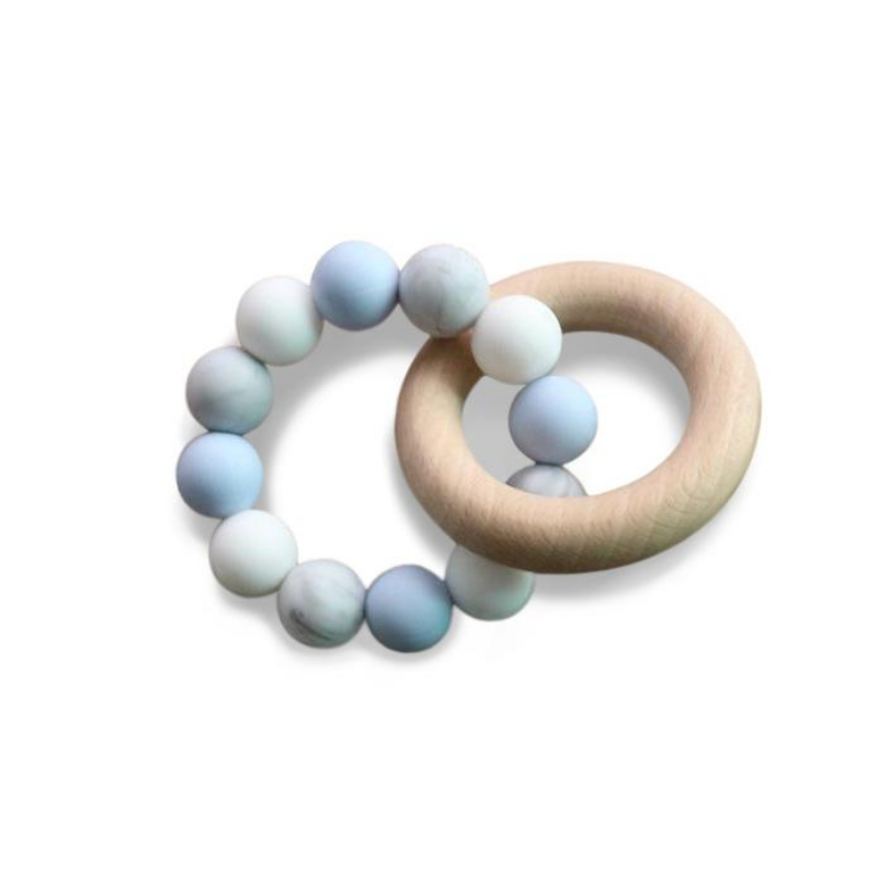 blue silicone teether