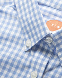 Women's Blue and White Gingham Button Front, Collar Dress Shirt