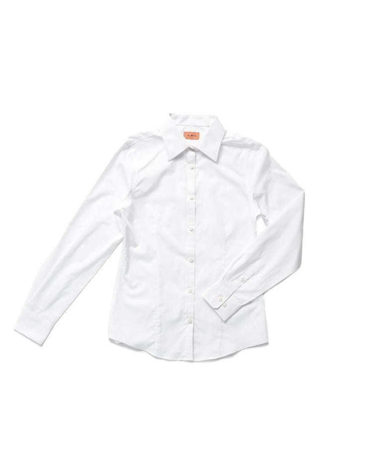 Women's Classic White Button Front, Collar Dress Shirt