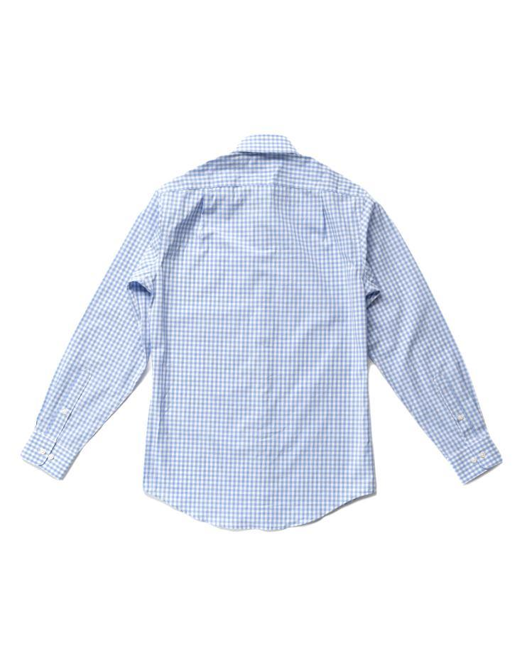 Men's Blue and White Gingham Button Front, Collar Dress Shirt