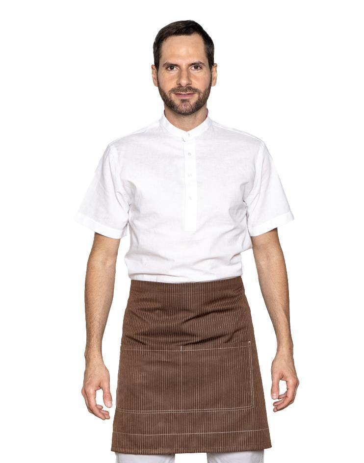 Brown Knee-Length Bistro Apron with White Stripes