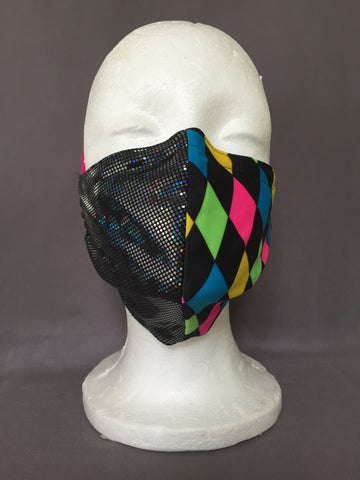 Electric Harlequin Face Covering