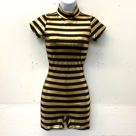 Black and Gold Stripe Biketard