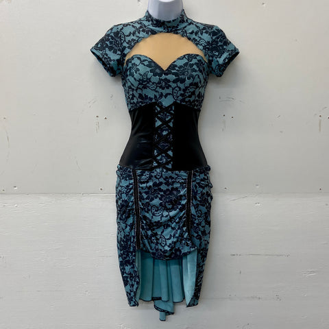 Blue with Black Lace Cabaret Dress