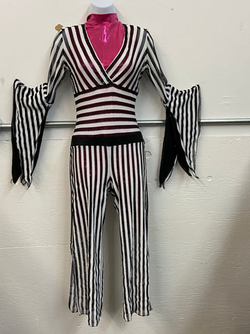 Black and White Stripe Mesh Jumper