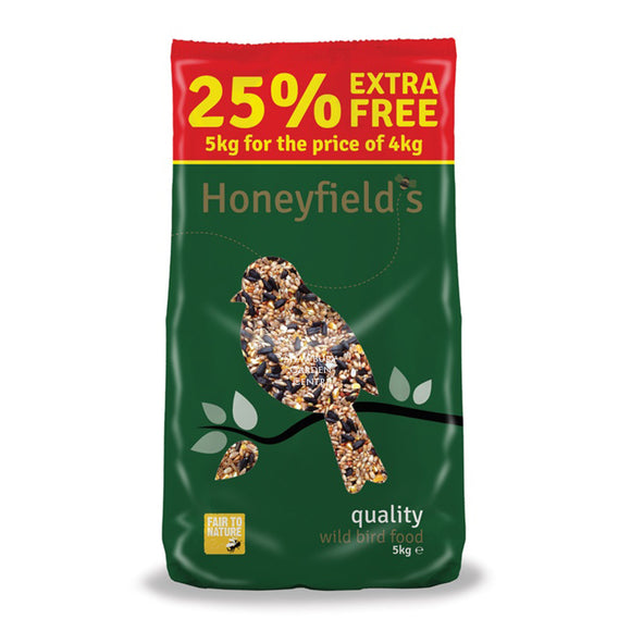 Honeyfields Wild Bird Seed Mix 4kg + 25%
