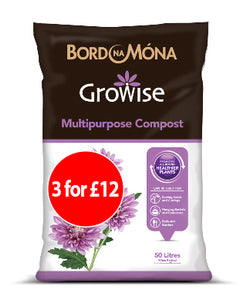 Growise Multipurpose Compost 50L  SPECIAL OFFER 3 for £12