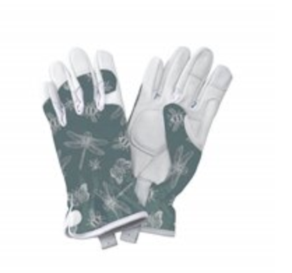 Kent & Stowe Premium Leather Gloves Flutter Bugs Print Teal - Ladies Small