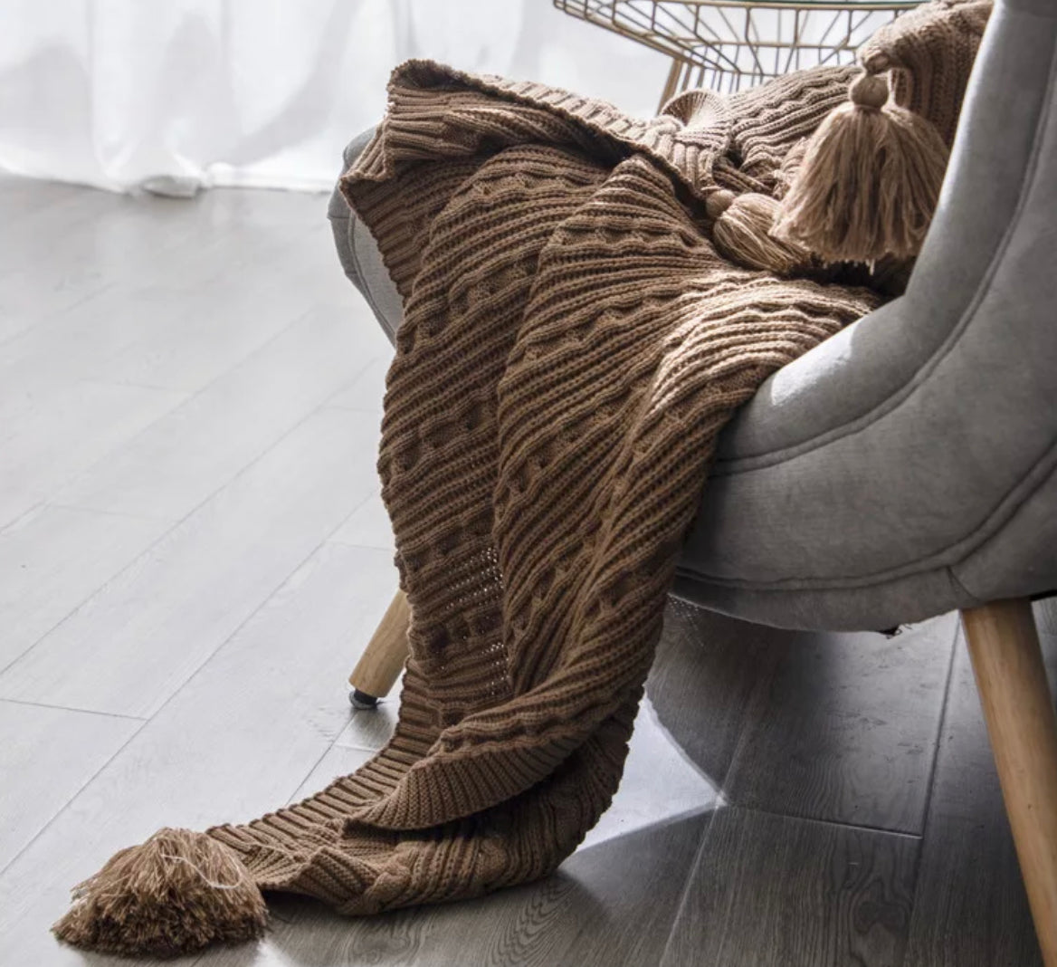 Luxe Harper Yarn Knit Throw - Home