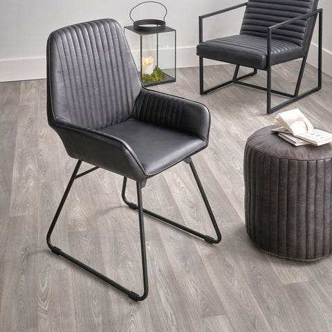 Black Leather Chair & pouffe