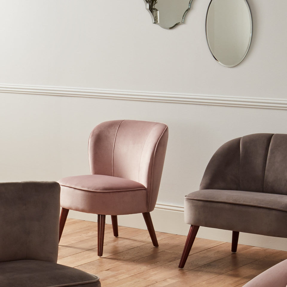 Florence Blush Pink Velvet Chair