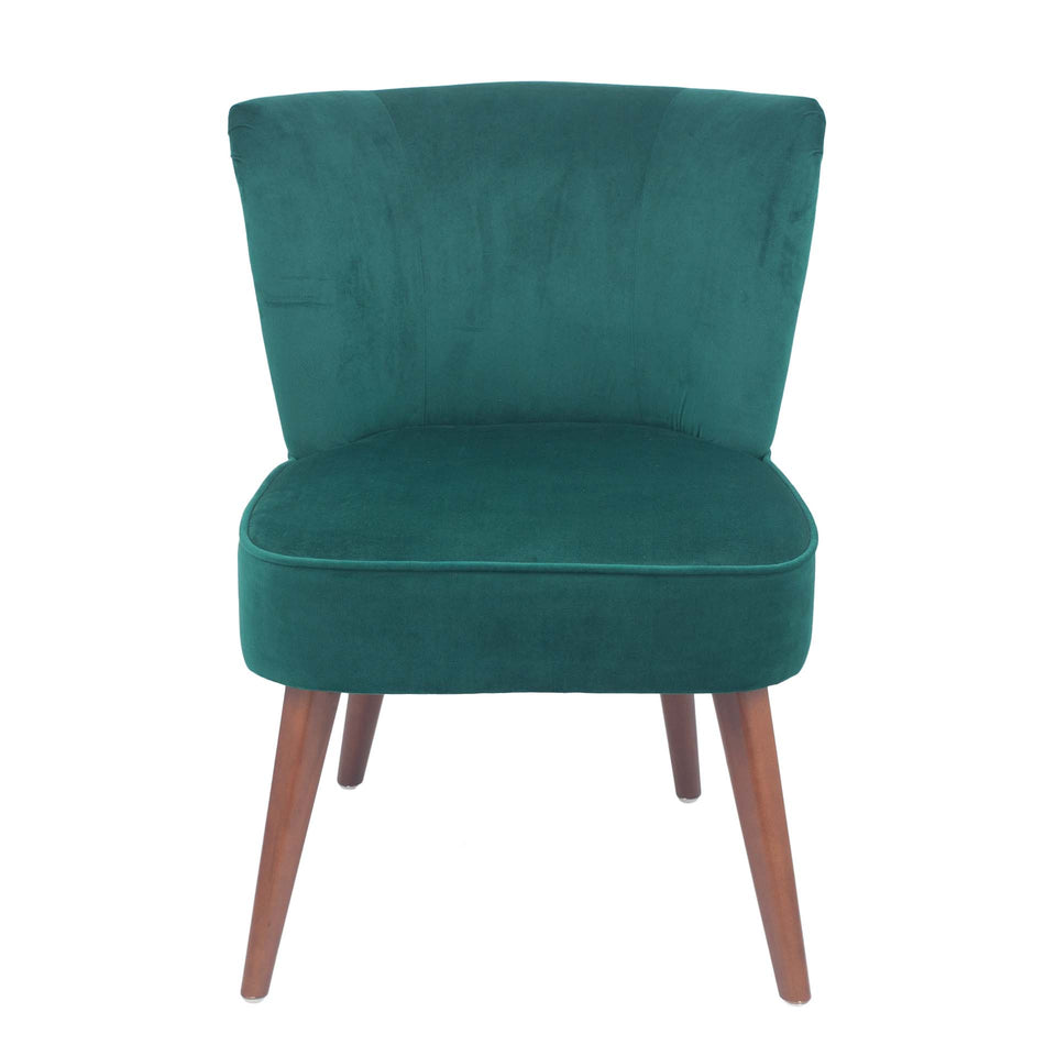 Palermo Forest Green Velvet Retro Cocktail Chair
