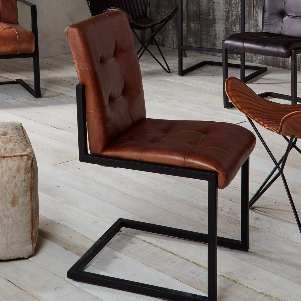 Armani Vintage Brown Stitched Leather Dining Chair