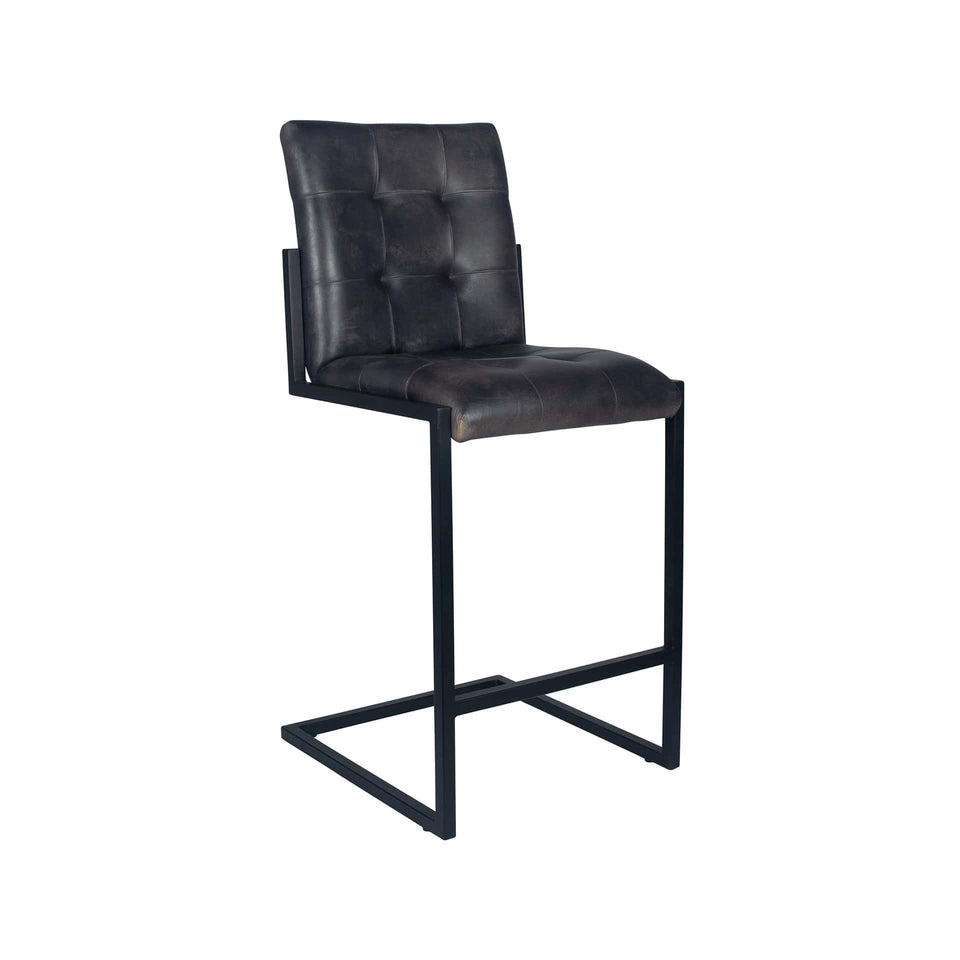 Armani Steel Grey Stitched Leather Bar Stool