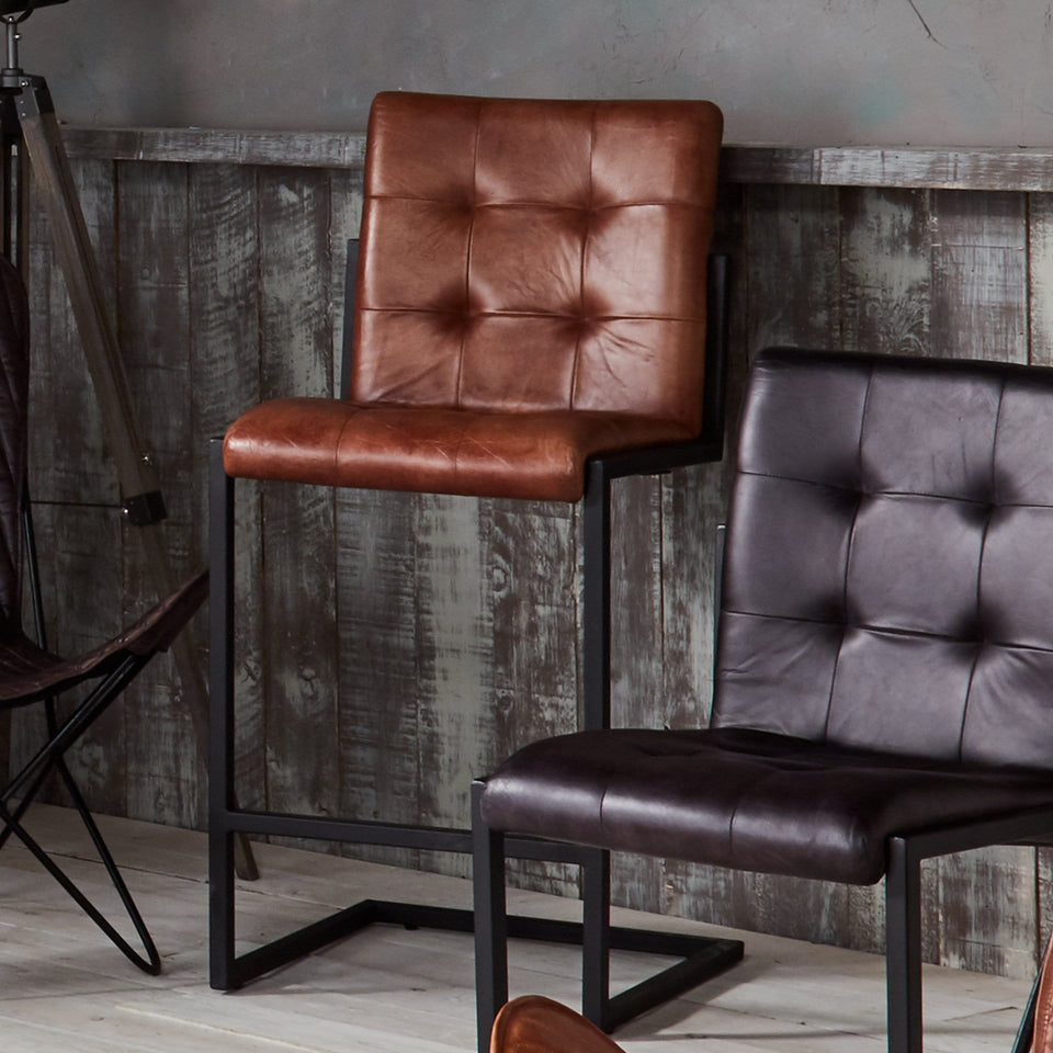 Arlo Vintage Brown Stitched Leather Bar Stool