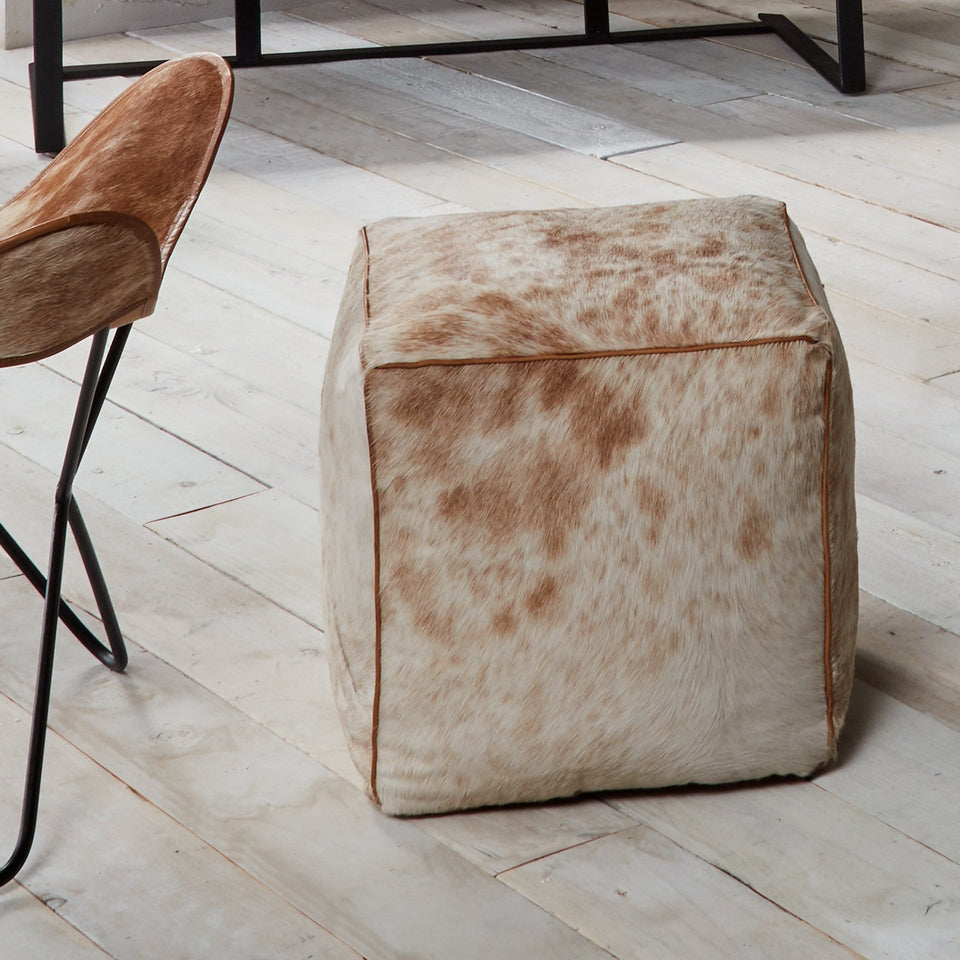 Luciano Brown Hide & Recycled Cotton Pouffe