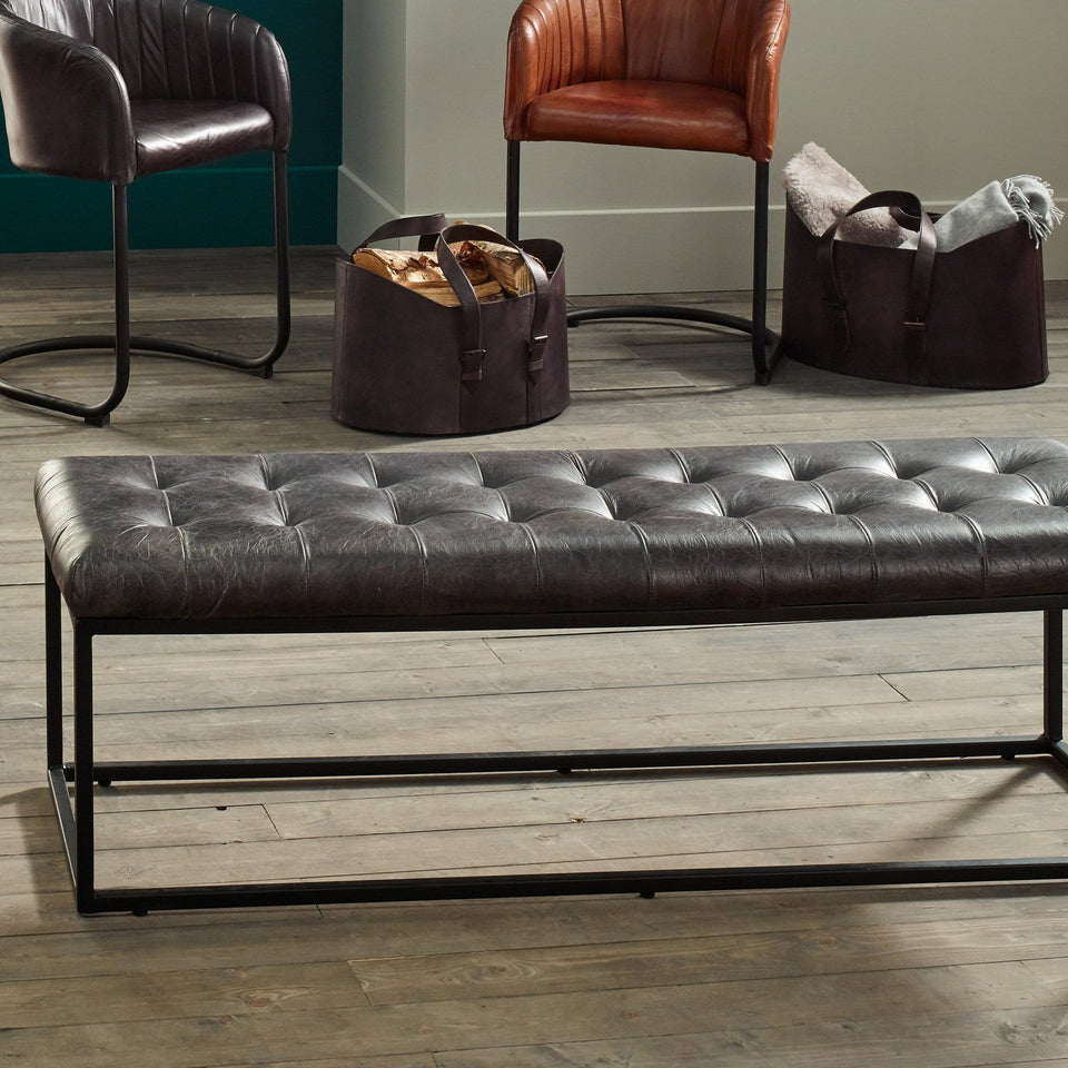 Armani Steel Grey Stitched Leather Bench