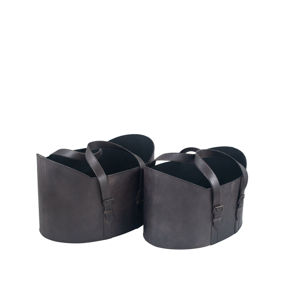 Luca Steel Grey Leather S/2 Handled Storage