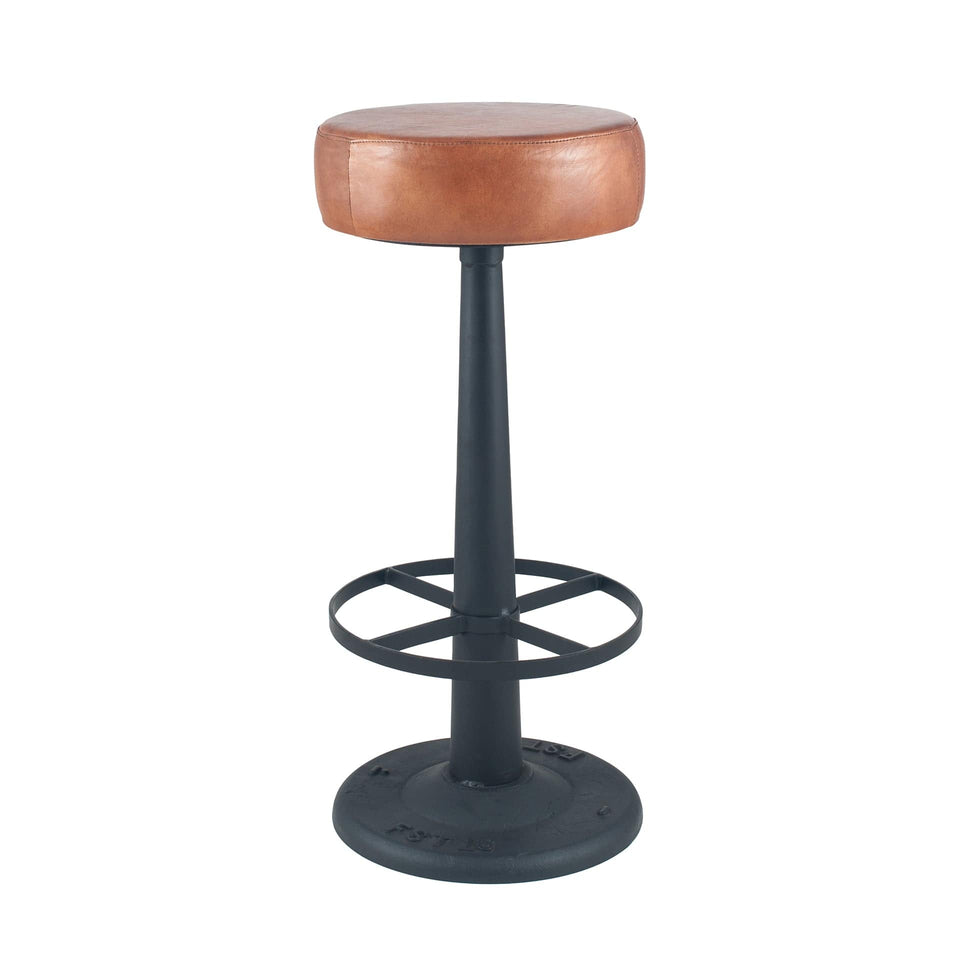Gerardo Vintage Brown Leather Round Bar Stool