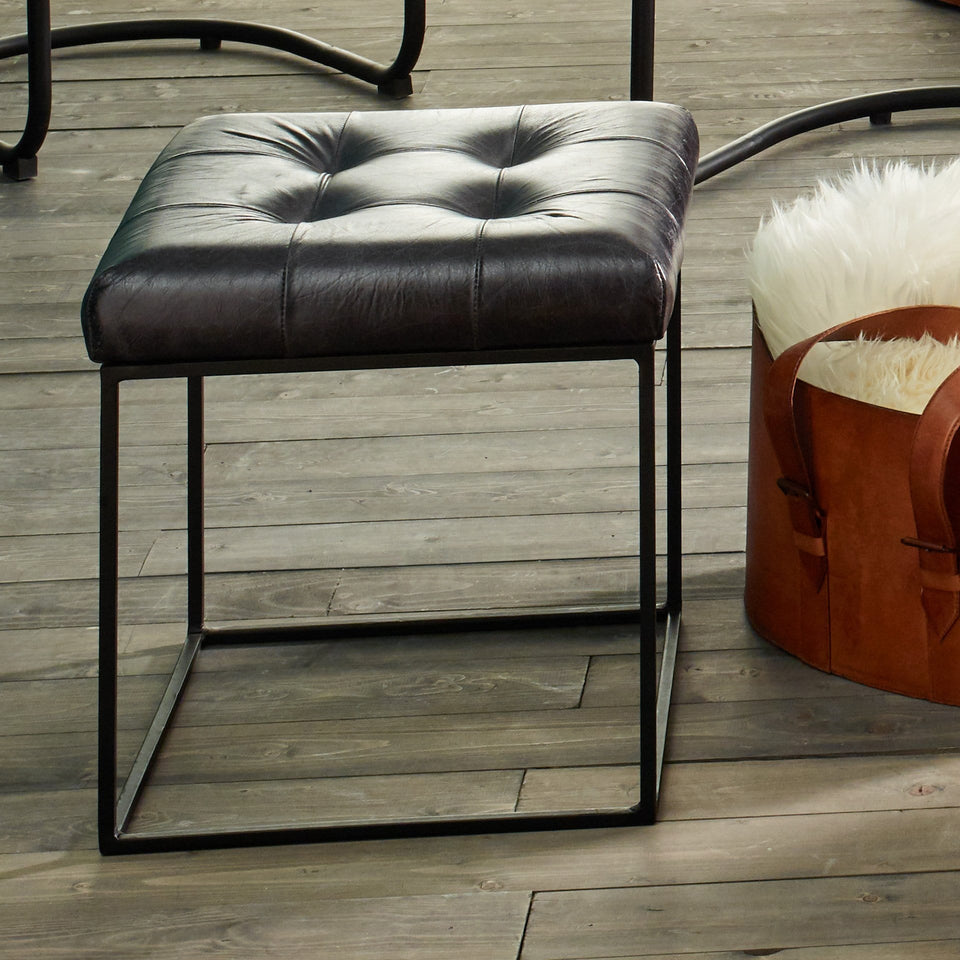 Armani Steel Grey Sitiched Leather Stool