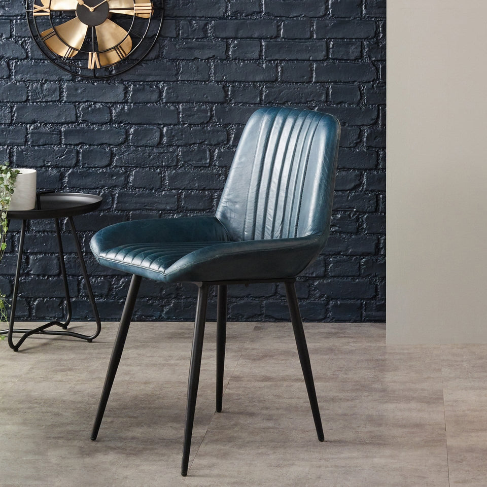 Armando Prussian Blue Leather Retro Dining Chair