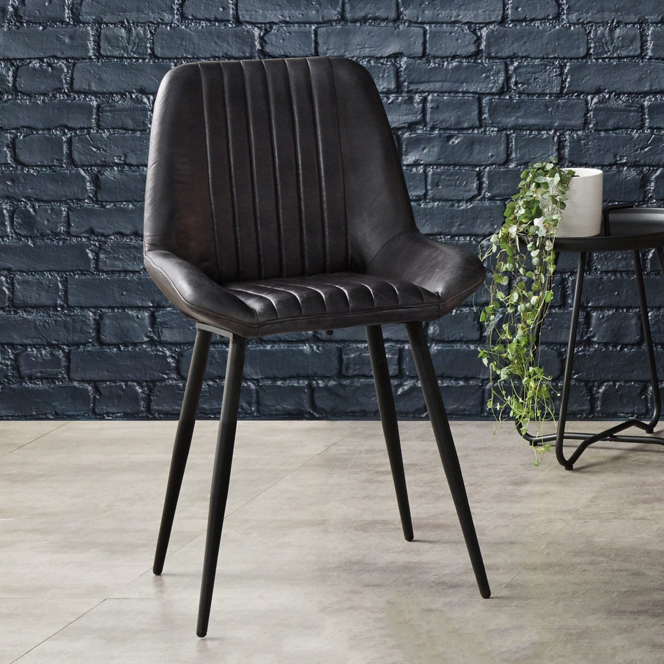 Armando Steel Grey Leather Retro Dining Chair