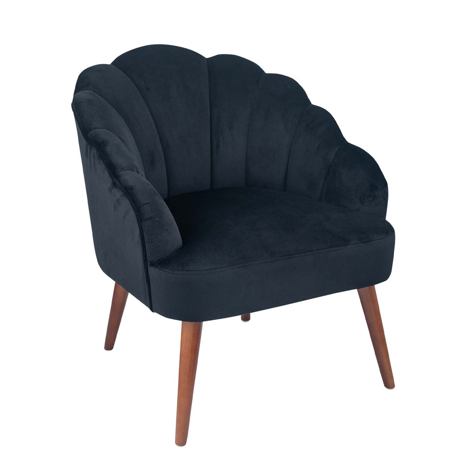 Bergamo Black Velvet Shell Chair