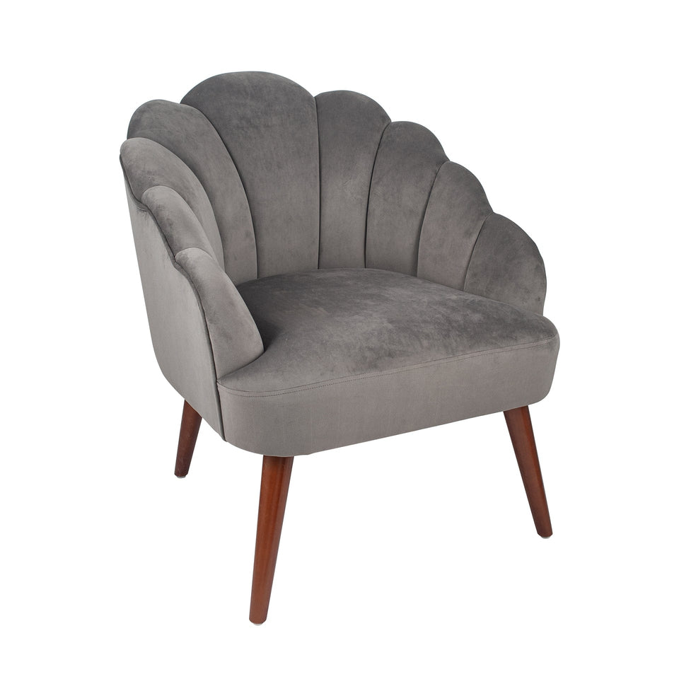 Bergamo Dove Grey Velvet Shell Chair