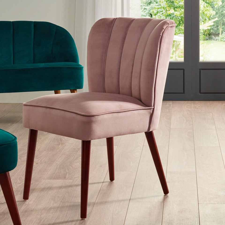 Matera Blush Pink Velvet Dining Chair