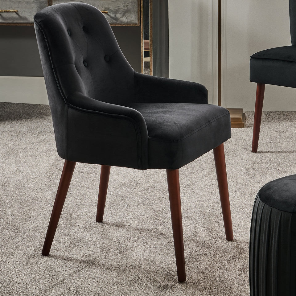 Perugia Black Velvet Winged Dining Chair
