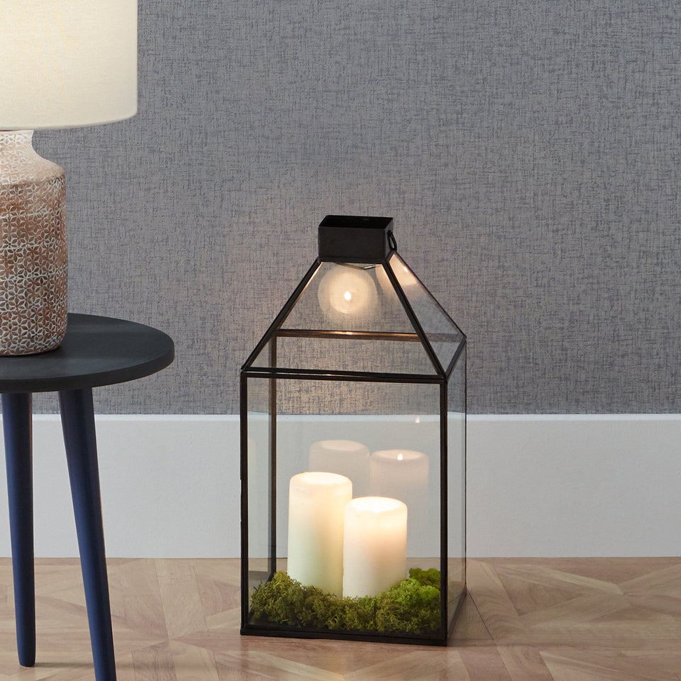 Adelina  Black Brass Metal & Glass Square Lantern