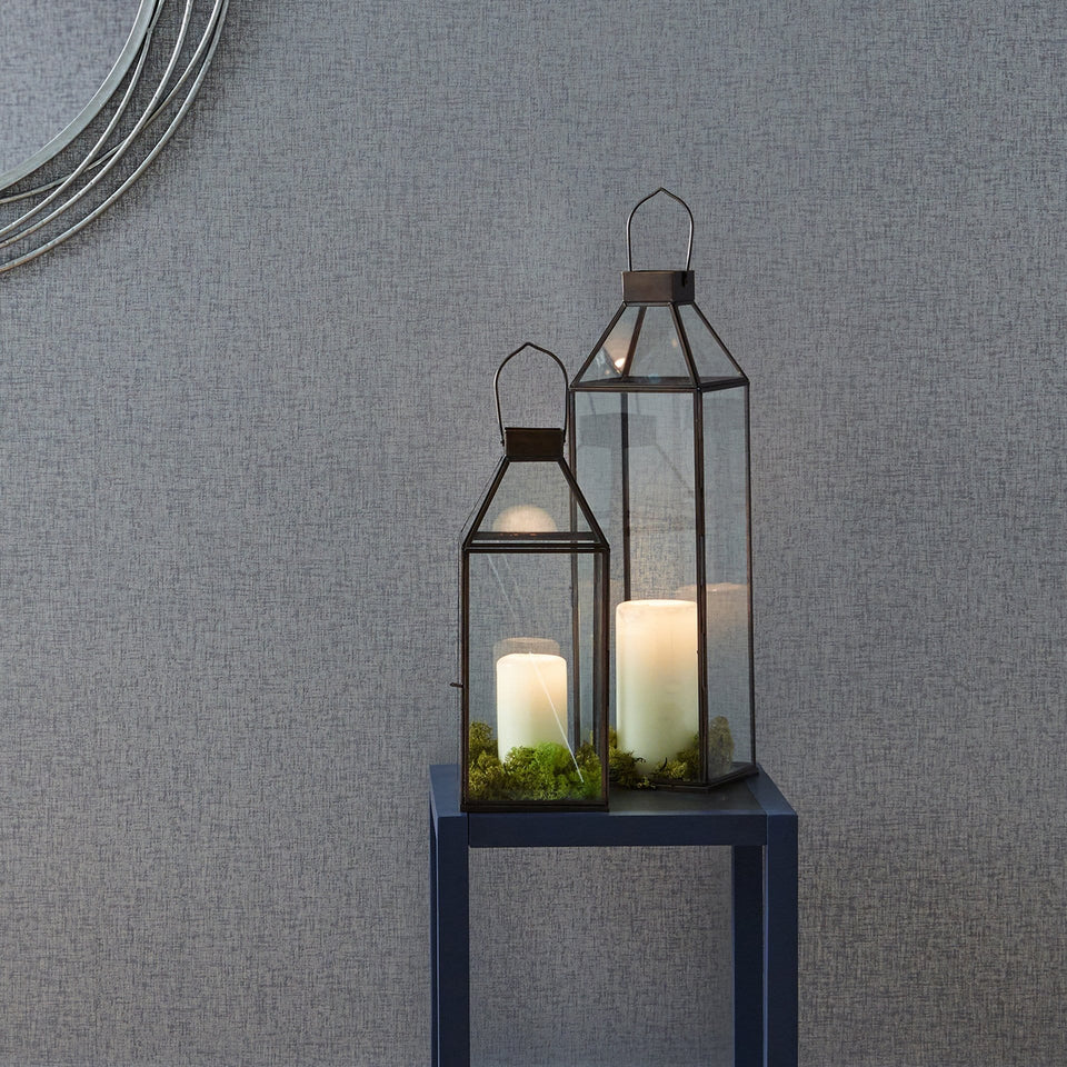Adelina Black Brass Metal & Glass Square Lantern Large