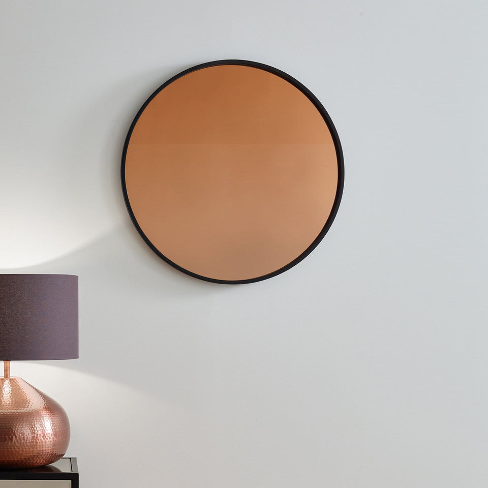 Addison Matt Black Wood Round Mirror w/Copper Glass