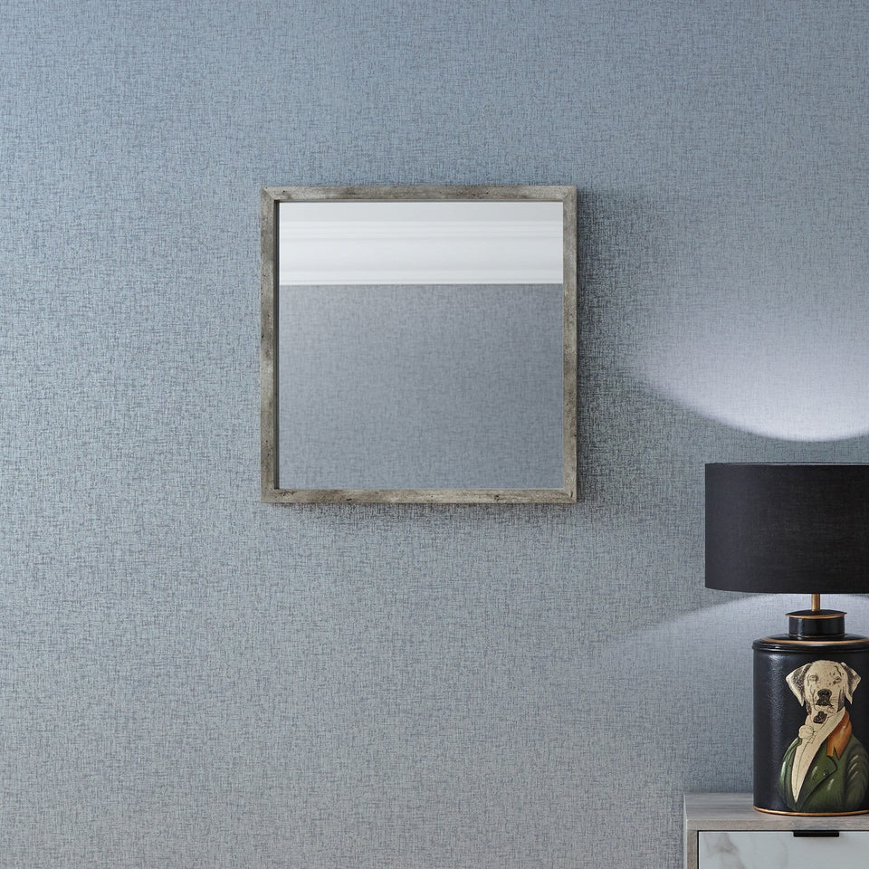 Albany Concrete Effect Wood Veneer Square Mirror Small