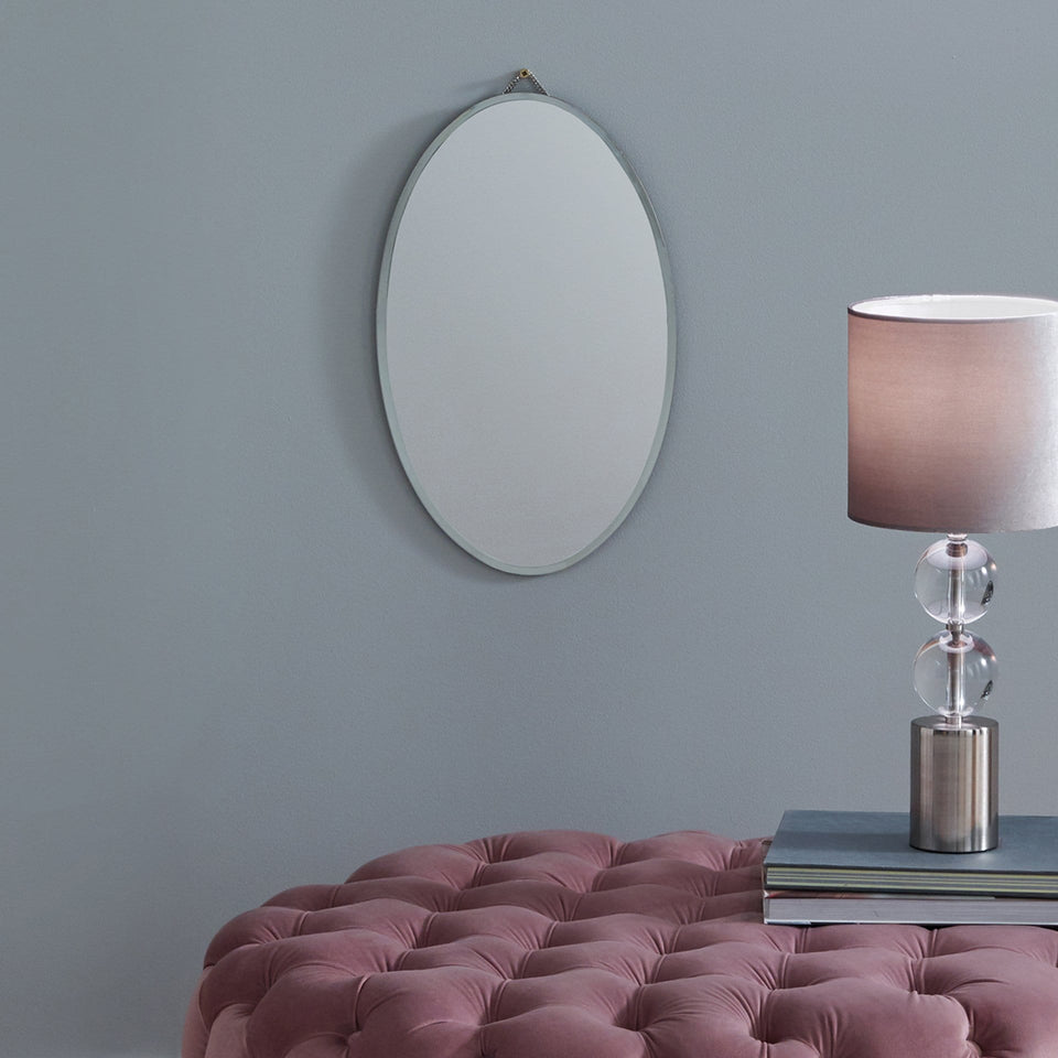 Ritzy Clear Glass Oval Wall Mirror
