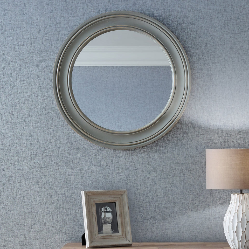 Evelyn Washed Grey Wood Round Wall Mirror Small