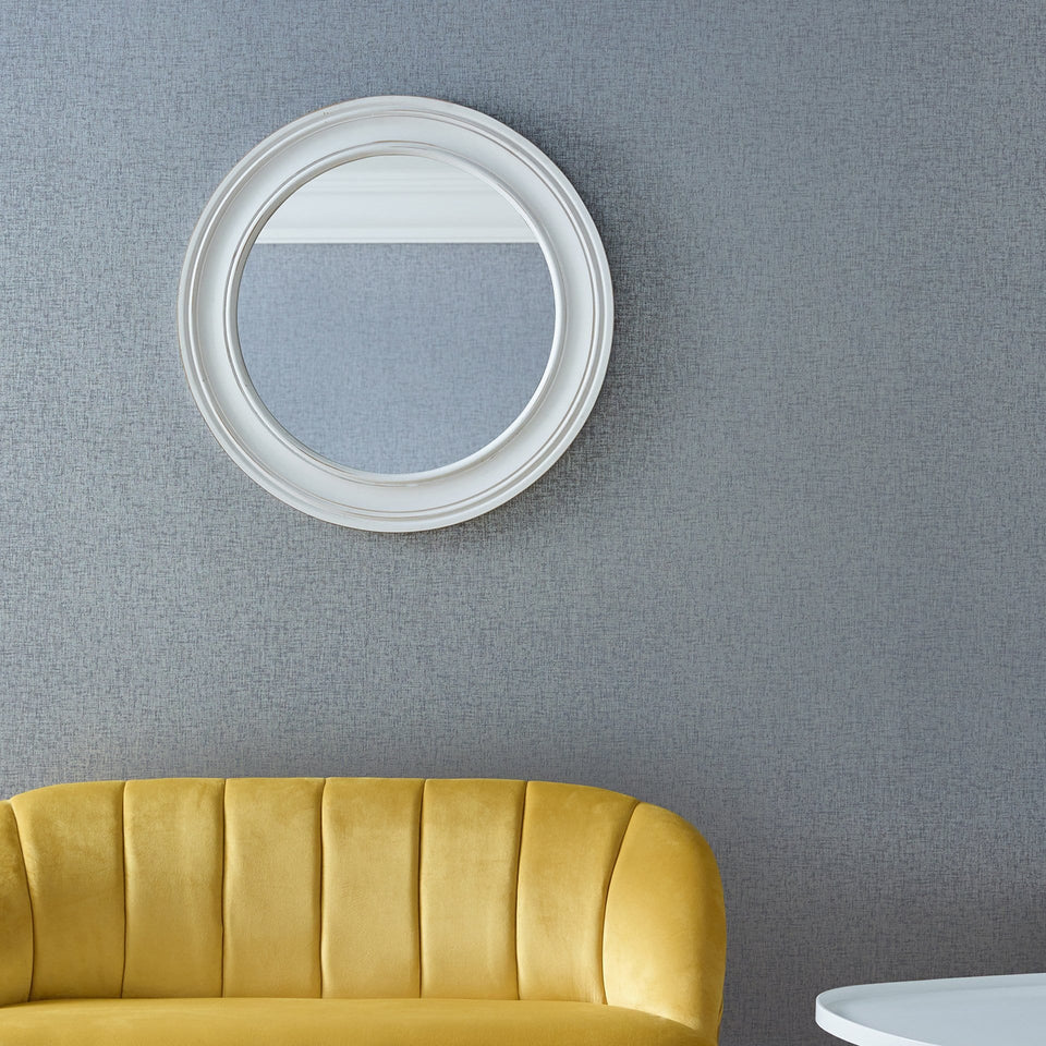 Lily Washed White Wood Round Wall Mirror Small