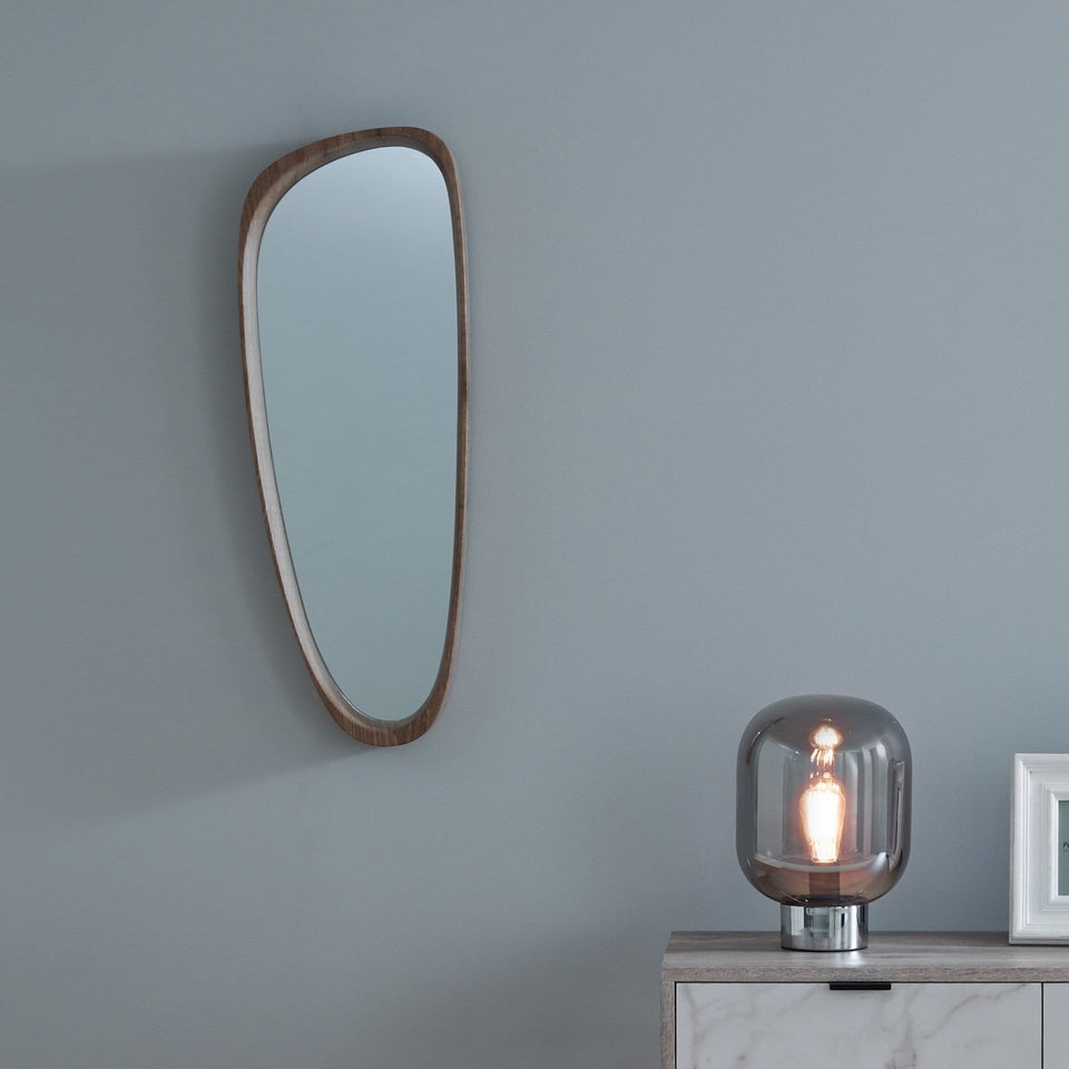 Tumba Natural Wood Veneer Teardrop Shaped Mirror