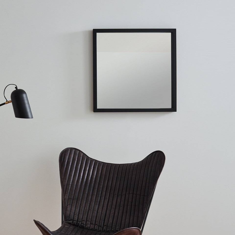 Motala Matt Black Wood Veneer Square Mirror